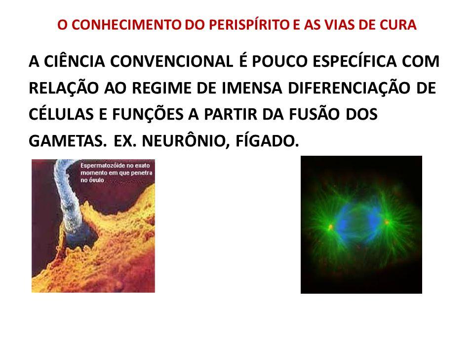 O CONHECIMENTO DO PERISPÍRITO E AS VIAS DE CURA A CIÊNCIA CONVENCIONAL É POUCO ESPECÍFICA COM RELAÇÃO AO REGIME DE IMENSA DIFERENCIAÇÃO DE CÉLULAS E F