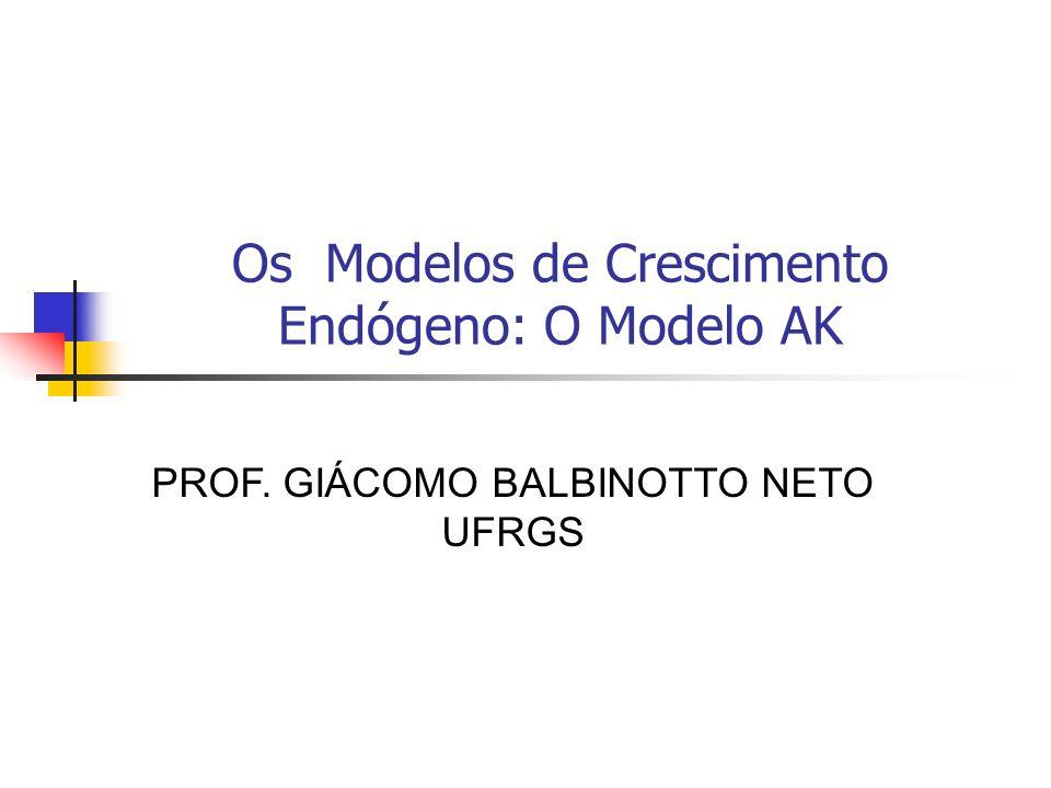 Os Modelos de Crescimento Endógeno: O Modelo AK PROF. GIÁCOMO BALBINOTTO NETO UFRGS