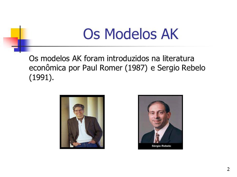 2 Os Modelos AK Os modelos AK foram introduzidos na literatura econômica por Paul Romer (1987) e Sergio Rebelo (1991).