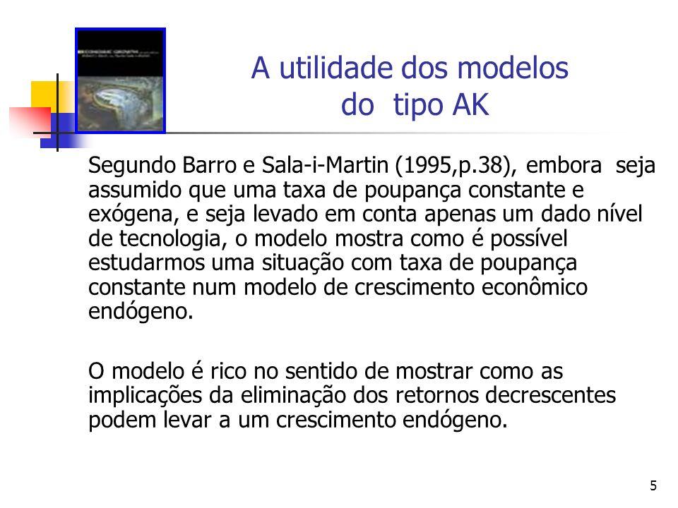 5 A utilidade dos modelos do tipo AK Segundo Barro e Sala-i-Martin (1995,p.38), embora seja assumido que uma taxa de poupança constante e exógena, e s
