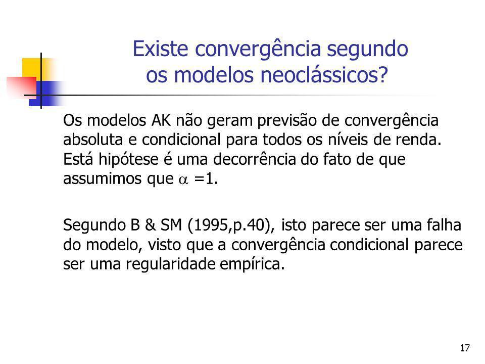 17 Existe convergência segundo os modelos neoclássicos? Os modelos AK não geram previsão de convergência absoluta e condicional para todos os níveis d