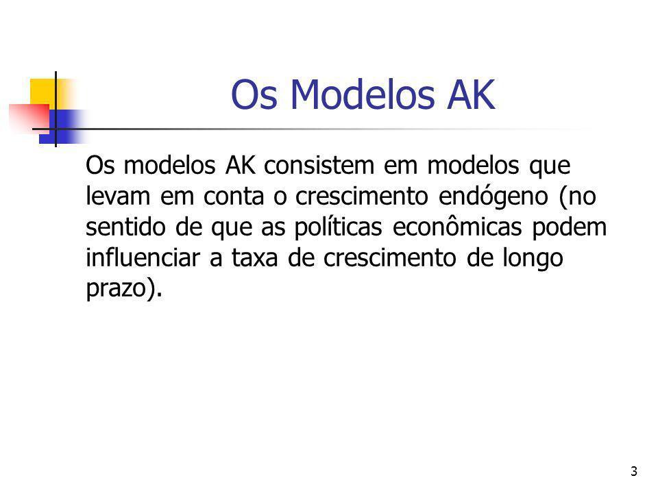 3 Os Modelos AK Os modelos AK consistem em modelos que levam em conta o crescimento endógeno (no sentido de que as políticas econômicas podem influenc