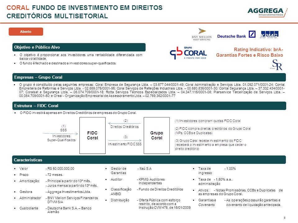 8 CORAL FUNDO DE INVESTIMENTO EM DIREITOS CREDITÓRIOS MULTISETORIAL Objetivo e Público Alvo Características O objetivo é proporcionar aos investidores