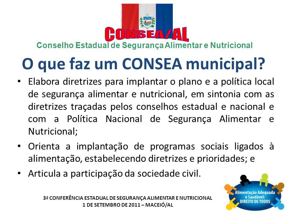 Conselho Estadual de Segurança Alimentar e Nutricional 3ª CONFERÊNCIA ESTADUAL DE SEGURANÇA ALIMENTAR E NUTRICIONAL 1 DE SETEMBRO DE 2011 – MACEIÓ/AL Cadastramento (no Conselho Nacional) Enviar mensagem para: secret.consea@planalto.gov.brsecret.consea@planalto.gov.br Acessar o site do CONSEA: http://www4.planalto.gov.br/consea http://www4.planalto.gov.br/consea Anexar o Formulário de Cadastro do Consea Municipal preenchido.
