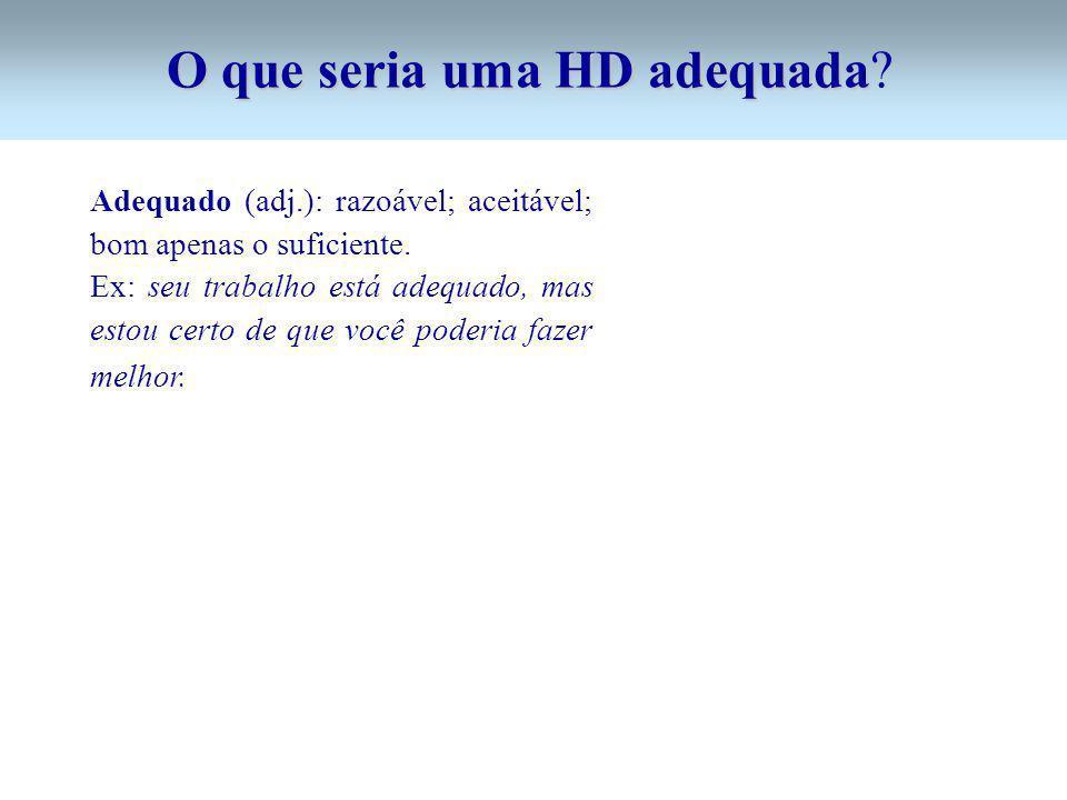 O que seria uma HD adequada O que seria uma HD adequada? Adequado (adj.): razoável; aceitável; bom apenas o suficiente. Ex: seu trabalho está adequado