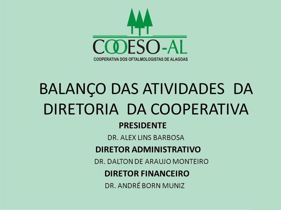 BALANÇO DAS ATIVIDADES DA DIRETORIA DA COOPERATIVA PRESIDENTE DR. ALEX LINS BARBOSA DIRETOR ADMINISTRATIVO DR. DALTON DE ARAUJO MONTEIRO DIRETOR FINAN