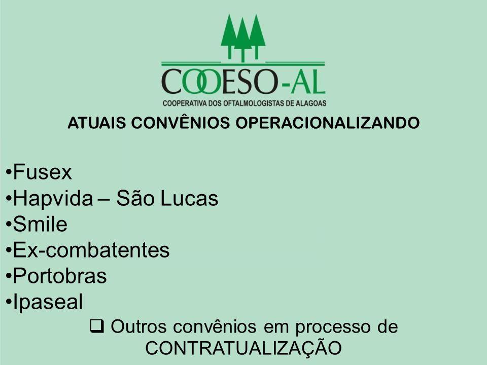 ATUAIS CONVÊNIOS OPERACIONALIZANDO Fusex Hapvida – São Lucas Smile Ex-combatentes Portobras Ipaseal Outros convênios em processo de CONTRATUALIZAÇÃO