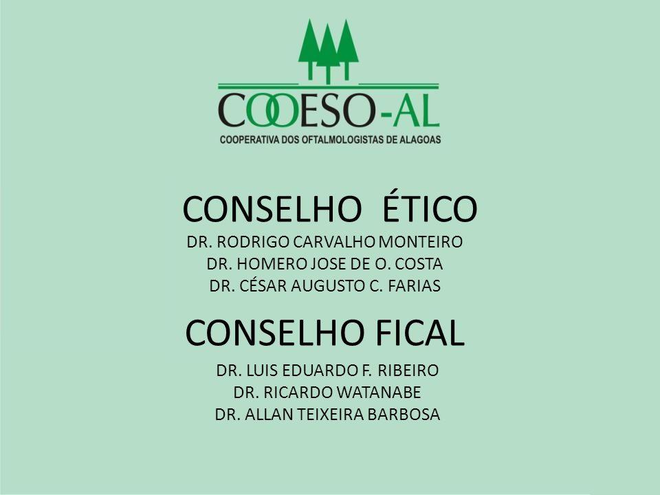 CONSELHO ÉTICO DR. RODRIGO CARVALHO MONTEIRO DR. HOMERO JOSE DE O. COSTA DR. CÉSAR AUGUSTO C. FARIAS CONSELHO FICAL DR. LUIS EDUARDO F. RIBEIRO DR. RI