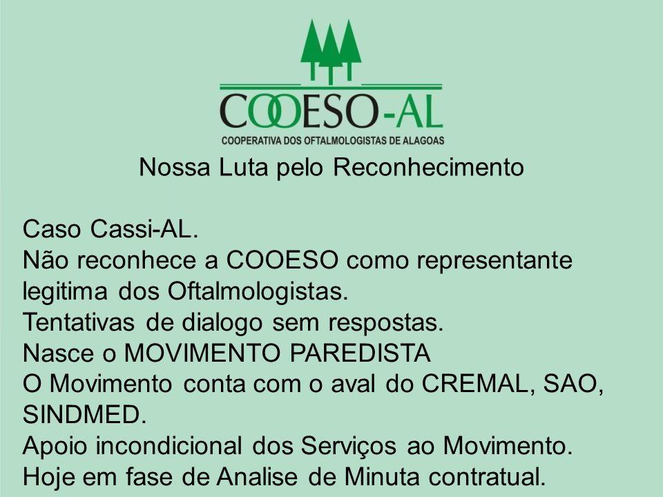 Nossa Luta pelo Reconhecimento Caso Cassi-AL. Não reconhece a COOESO como representante legitima dos Oftalmologistas. Tentativas de dialogo sem respos