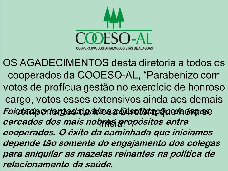 OS AGADECIMENTOS desta diretoria a todos os cooperados da COOESO-AL, Parabenizo com votos de profícua gestão no exercício de honroso cargo, votos esse