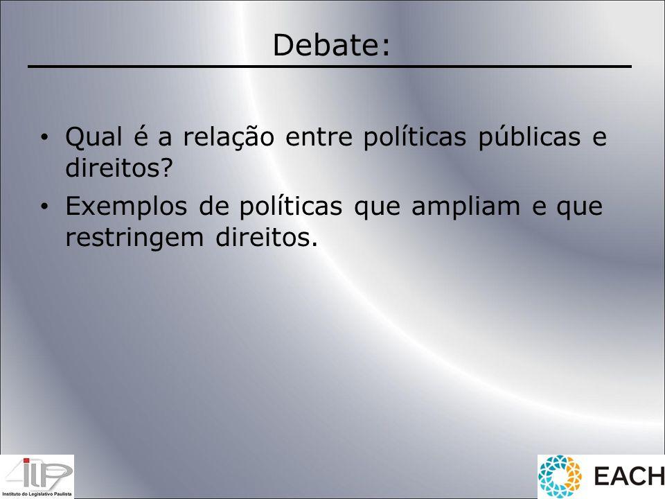 Debate: Qual é a relação entre políticas públicas e direitos? Exemplos de políticas que ampliam e que restringem direitos.