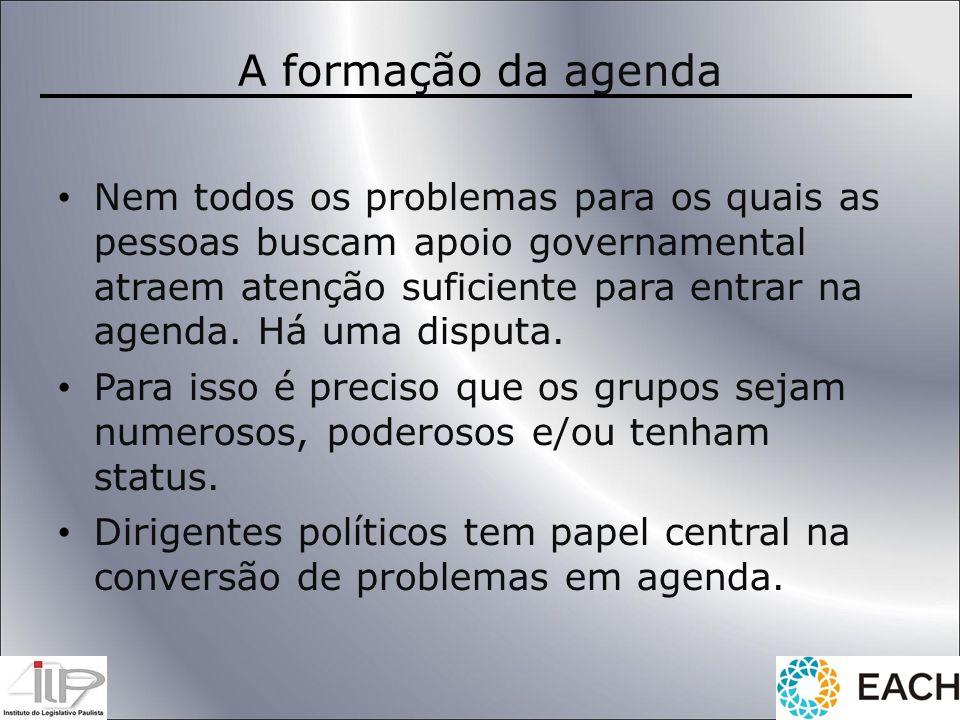 A formação da agenda Nem todos os problemas para os quais as pessoas buscam apoio governamental atraem atenção suficiente para entrar na agenda. Há um