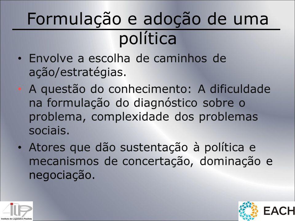 Formulação e adoção de uma política Envolve a escolha de caminhos de ação/estratégias. A questão do conhecimento: A dificuldade na formulação do diagn