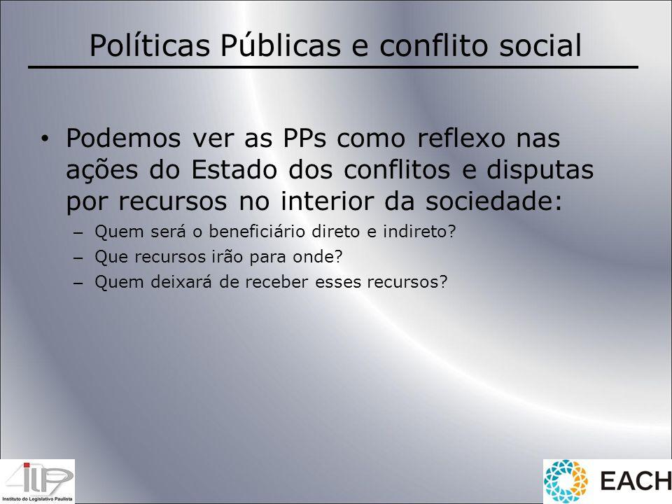 Políticas Públicas e conflito social Podemos ver as PPs como reflexo nas ações do Estado dos conflitos e disputas por recursos no interior da sociedad