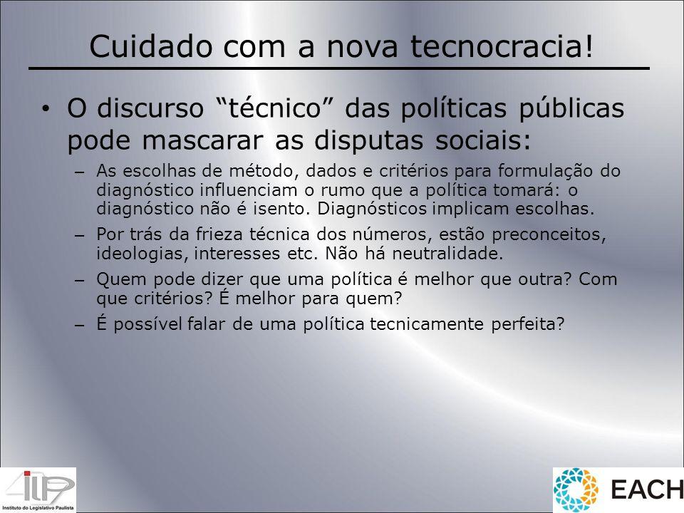 Cuidado com a nova tecnocracia! O discurso técnico das políticas públicas pode mascarar as disputas sociais: – As escolhas de método, dados e critério