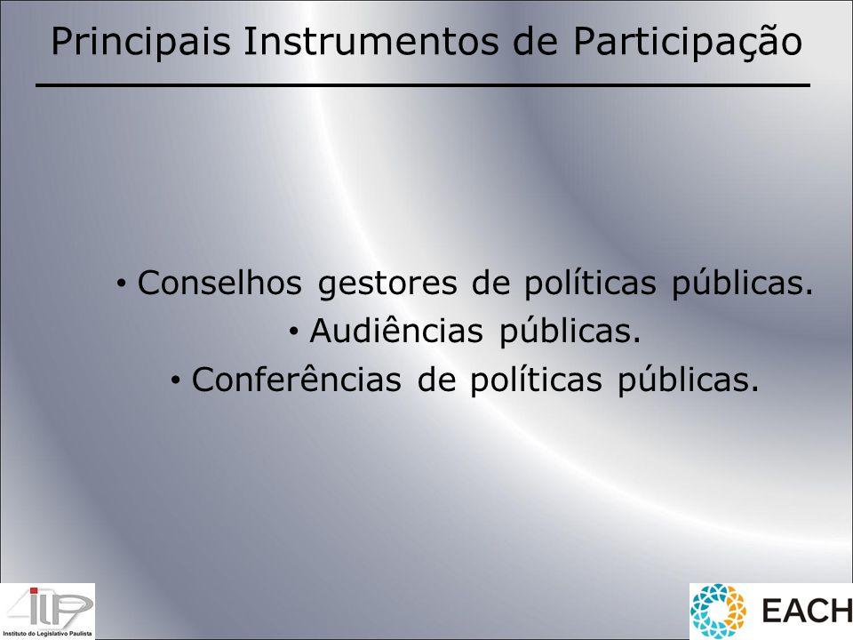 Conselhos gestores de políticas públicas. Audiências públicas. Conferências de políticas públicas. Principais Instrumentos de Participação