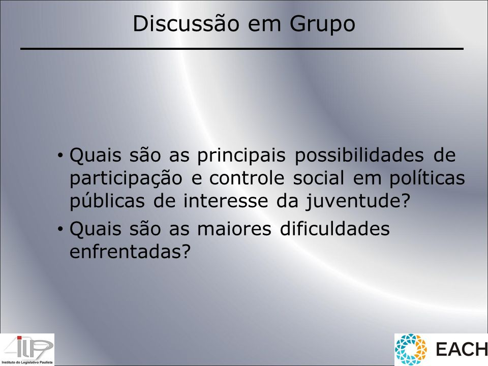 Quais são as principais possibilidades de participação e controle social em políticas públicas de interesse da juventude? Quais são as maiores dificul