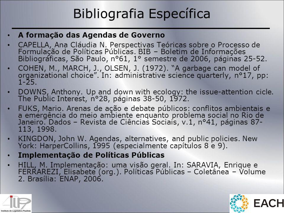 Bibliografia Específica A formação das Agendas de Governo CAPELLA, Ana Cláudia N. Perspectivas Teóricas sobre o Processo de Formulação de Políticas Pú