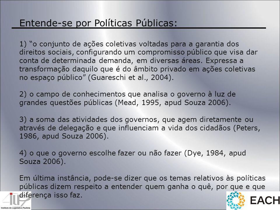 Entende-se por Políticas Públicas: 1) o conjunto de ações coletivas voltadas para a garantia dos direitos sociais, configurando um compromisso público