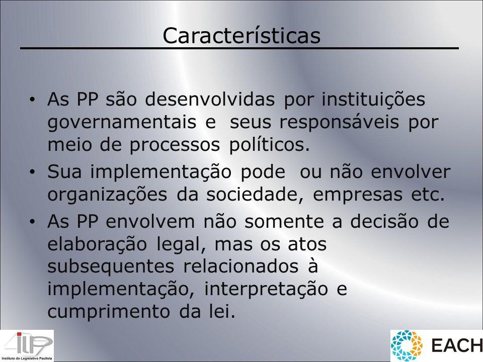 Características As PP são desenvolvidas por instituições governamentais e seus responsáveis por meio de processos políticos. Sua implementação pode ou