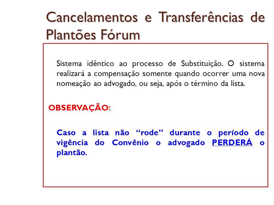 Cancelamentos e Transferências de Plantões Fórum Sistema idêntico ao processo de Substituição. O sistema realizará a compensação somente quando ocorre