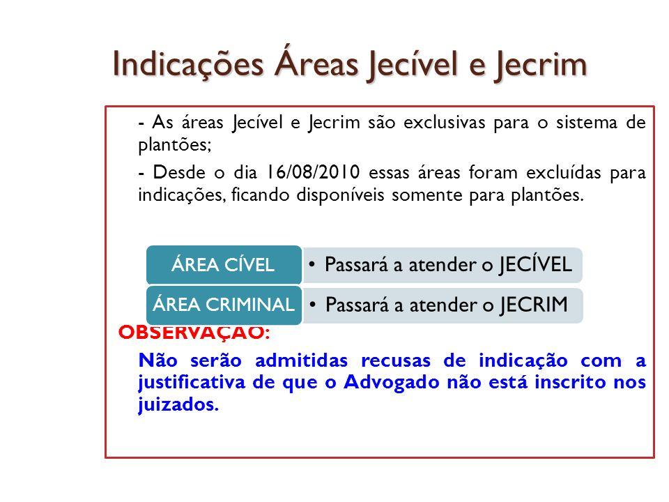 Indicações Áreas Jecível e Jecrim - As áreas Jecível e Jecrim são exclusivas para o sistema de plantões; - Desde o dia 16/08/2010 essas áreas foram ex
