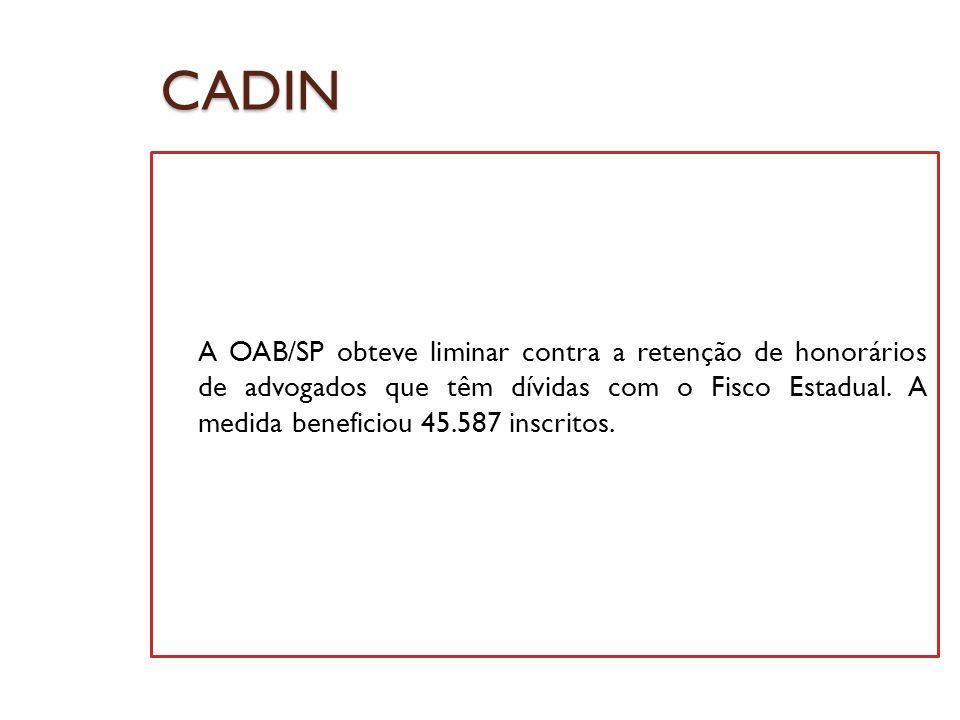 CADIN A OAB/SP obteve liminar contra a retenção de honorários de advogados que têm dívidas com o Fisco Estadual. A medida beneficiou 45.587 inscritos.