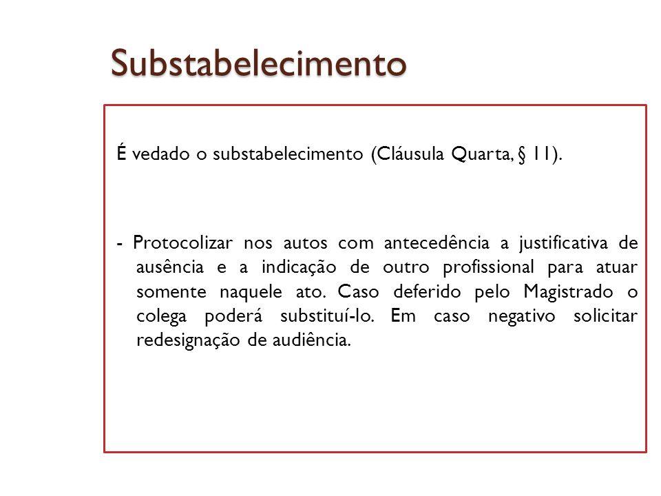 Substabelecimento É vedado o substabelecimento (Cláusula Quarta, § 11). - Protocolizar nos autos com antecedência a justificativa de ausência e a indi