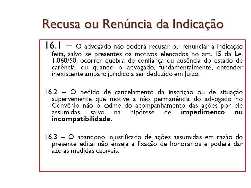 Recusa ou Renúncia da Indicação 16.1 – O advogado não poderá recusar ou renunciar à indicação feita, salvo se presentes os motivos elencados no art. 1