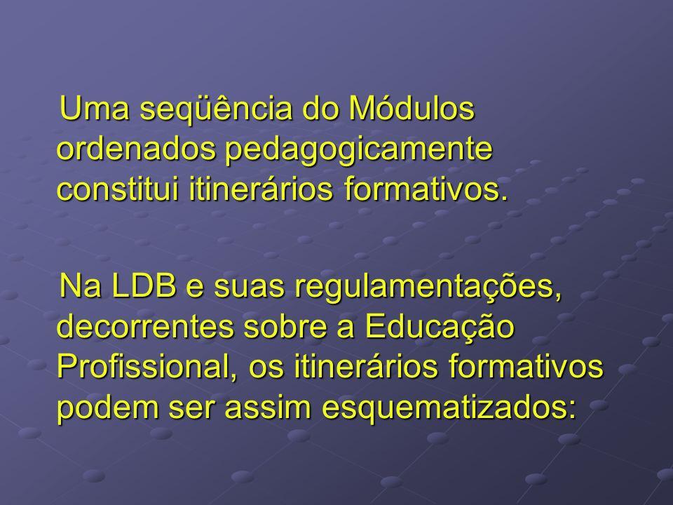 Uma seqüência do Módulos ordenados pedagogicamente constitui itinerários formativos.