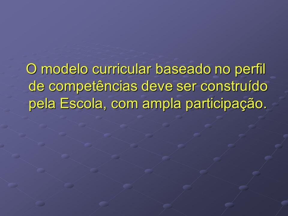 O modelo curricular baseado no perfil de competências deve ser construído pela Escola, com ampla participação. O modelo curricular baseado no perfil d