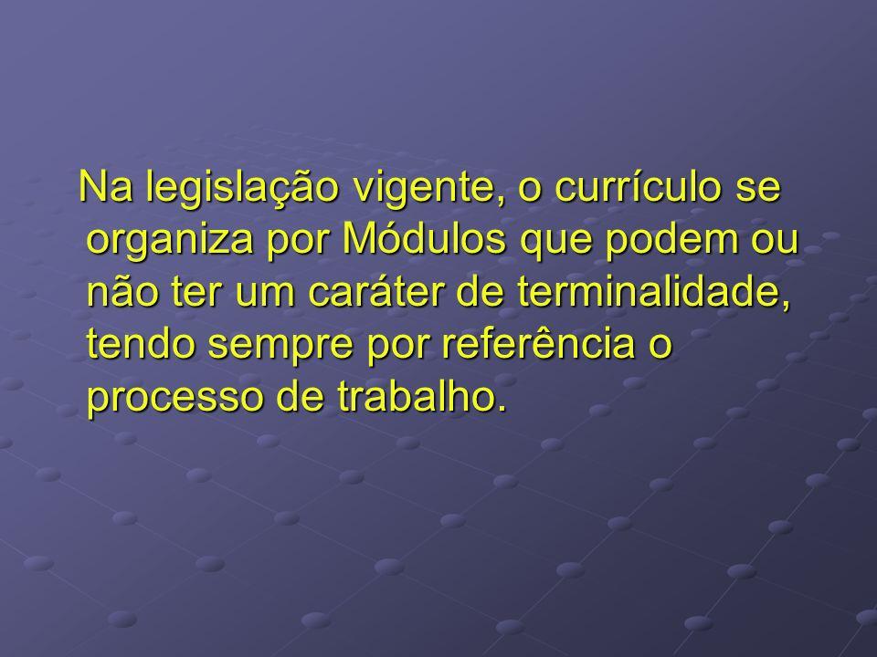 Na legislação vigente, o currículo se organiza por Módulos que podem ou não ter um caráter de terminalidade, tendo sempre por referência o processo de trabalho.
