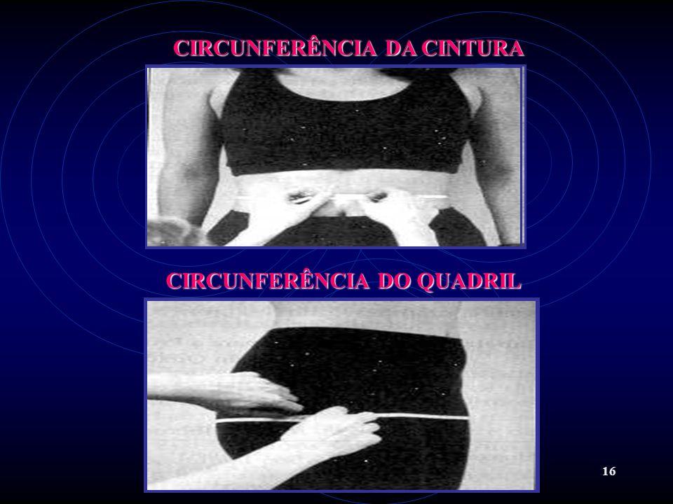 16 CIRCUNFERÊNCIA DA CINTURA CIRCUNFERÊNCIA DO QUADRIL