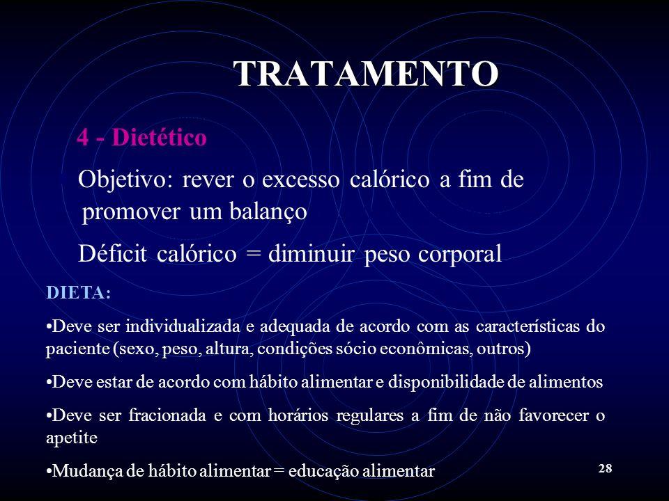 28 4 - Dietético Objetivo: rever o excesso calórico a fim de promover um balanço calórico negativo Déficit calórico = diminuir peso corporal DIETA: De
