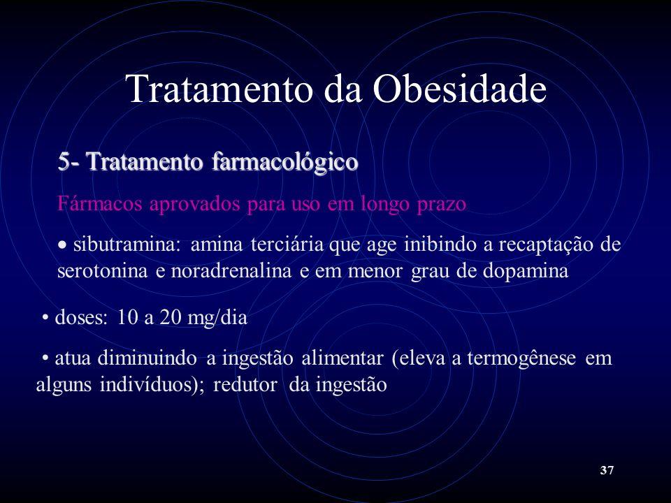 37 Tratamento da Obesidade 5- Tratamento farmacológico Fármacos aprovados para uso em longo prazo sibutramina: amina terciária que age inibindo a reca