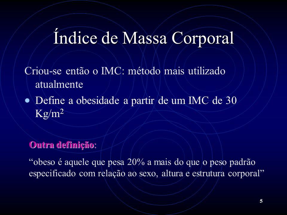 5 Índice de Massa Corporal Criou-se então o IMC: método mais utilizado atualmente Define a obesidade a partir de um IMC de 30 Kg/m 2 Outra definição:
