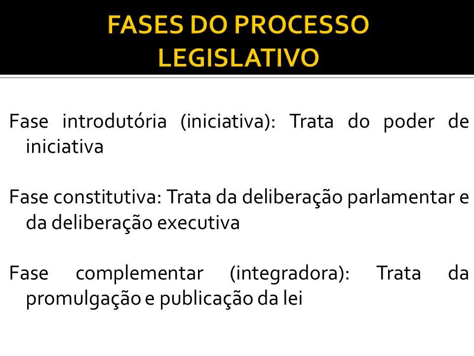 Fase introdutória (iniciativa): Trata do poder de iniciativa Fase constitutiva: Trata da deliberação parlamentar e da deliberação executiva Fase compl