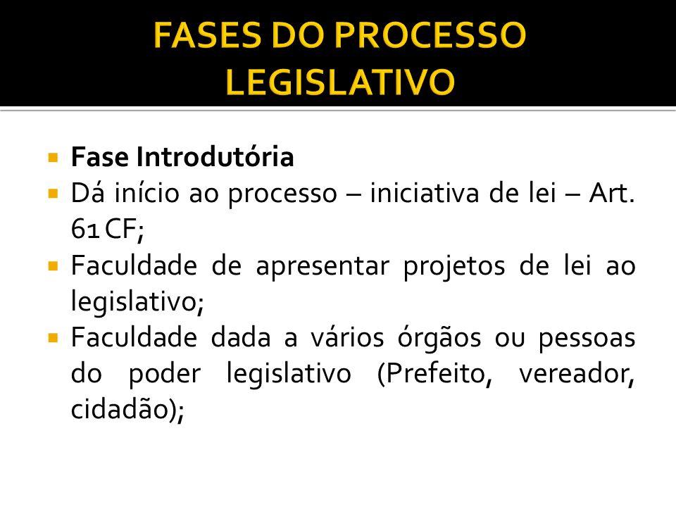 Fase Introdutória Dá início ao processo – iniciativa de lei – Art. 61 CF; Faculdade de apresentar projetos de lei ao legislativo; Faculdade dada a vár