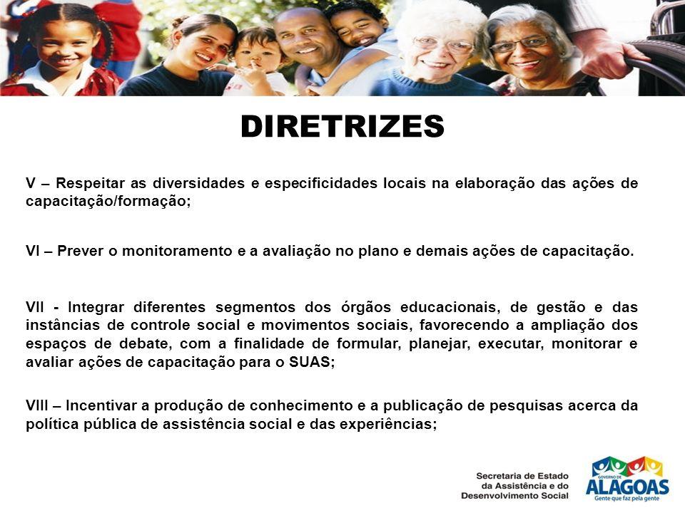 DIRETRIZES V – Respeitar as diversidades e especificidades locais na elaboração das ações de capacitação/formação; VI – Prever o monitoramento e a ava