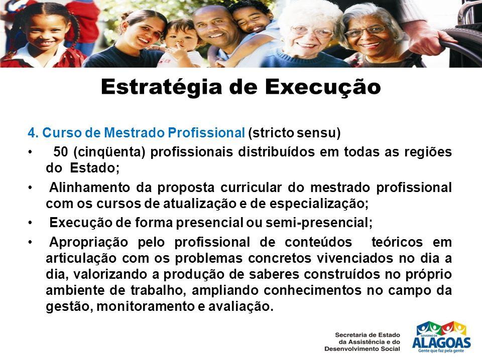 Estratégia de Execução 4. Curso de Mestrado Profissional (stricto sensu) 50 (cinqüenta) profissionais distribuídos em todas as regiões do Estado; Alin