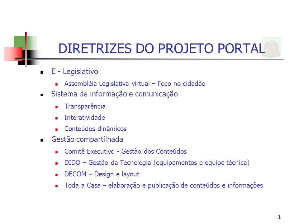1 DIRETRIZES DO PROJETO PORTAL E - Legislativo Assembléia Legislativa virtual – Foco no cidadão Sistema de informação e comunicação Transparência Inte