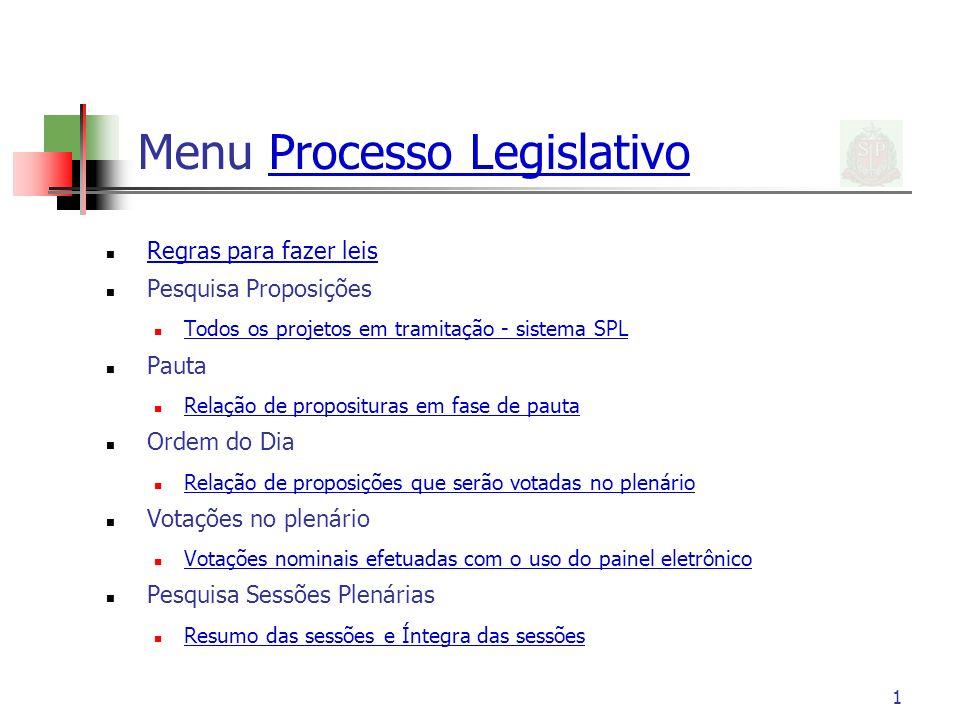 1 Menu Processo LegislativoProcesso Legislativo Regras para fazer leis Pesquisa Proposições Todos os projetos em tramitação - sistema SPL Pauta Relaçã