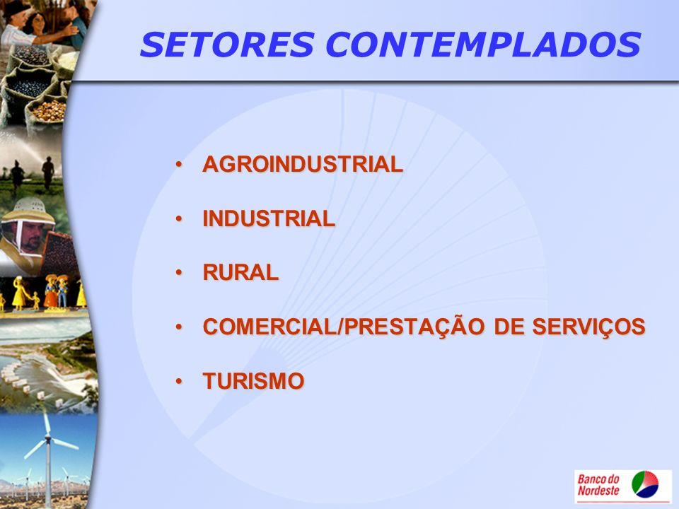 AGROINDUSTRIALAGROINDUSTRIAL INDUSTRIALINDUSTRIAL RURALRURAL COMERCIAL/PRESTAÇÃO DE SERVIÇOSCOMERCIAL/PRESTAÇÃO DE SERVIÇOS TURISMOTURISMO SETORES CON