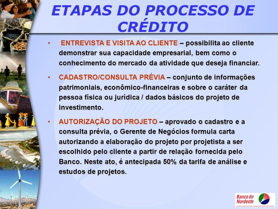 ETAPAS DO PROCESSO DE CRÉDITO ENTREVISTA E VISITA AO CLIENTE – possibilita ao cliente demonstrar sua capacidade empresarial, bem como o conhecimento d