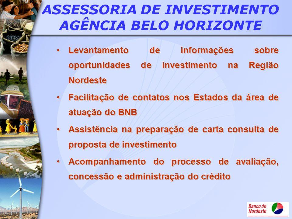 ASSESSORIA DE INVESTIMENTO AGÊNCIA BELO HORIZONTE Levantamento de informações sobre oportunidades de investimento na Região NordesteLevantamento de in