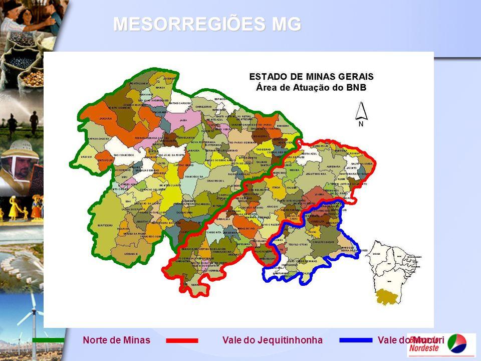 MESORREGIÕES MG Norte de MinasVale do JequitinhonhaVale do Mucuri
