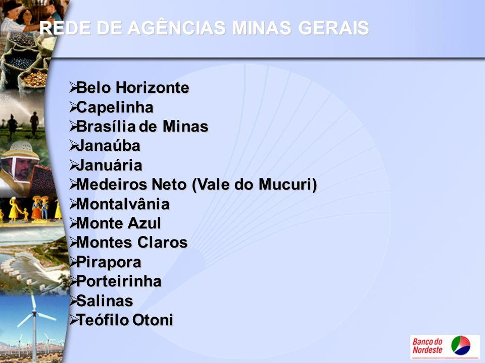 REDE DE AGÊNCIAS MINAS GERAIS Belo Horizonte Belo Horizonte Capelinha Capelinha Brasília de Minas Brasília de Minas Janaúba Janaúba Januária Januária