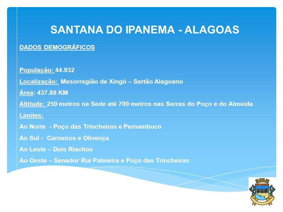 DADOS DEMOGRÁFICOS População: 44.932 Localização: Mesorregião de Xingó – Sertão Alagoano Área: 437.88 KM Altitude: 250 metros na Sede até 700 metros n