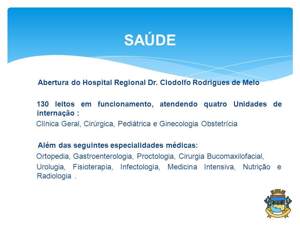 Abertura do Hospital Regional Dr. Clodolfo Rodrigues de Melo 130 leitos em funcionamento, atendendo quatro Unidades de internação : Clínica Geral, Cir