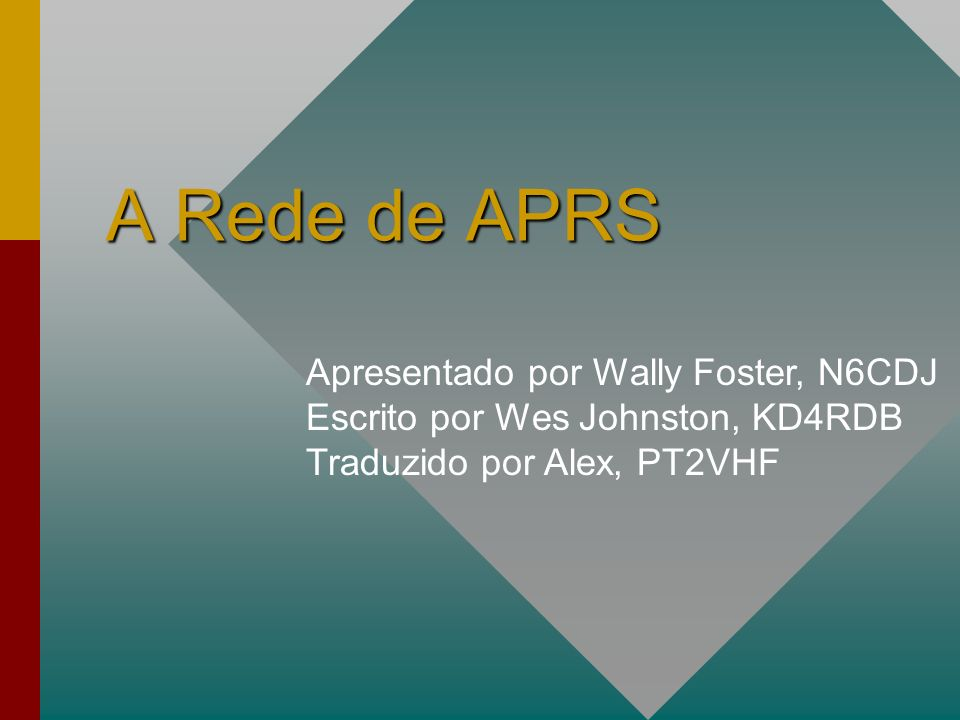 Apresentado por Wally Foster, N6CDJ Escrito por Wes Johnston, KD4RDB Traduzido por Alex, PT2VHF A Rede de APRS